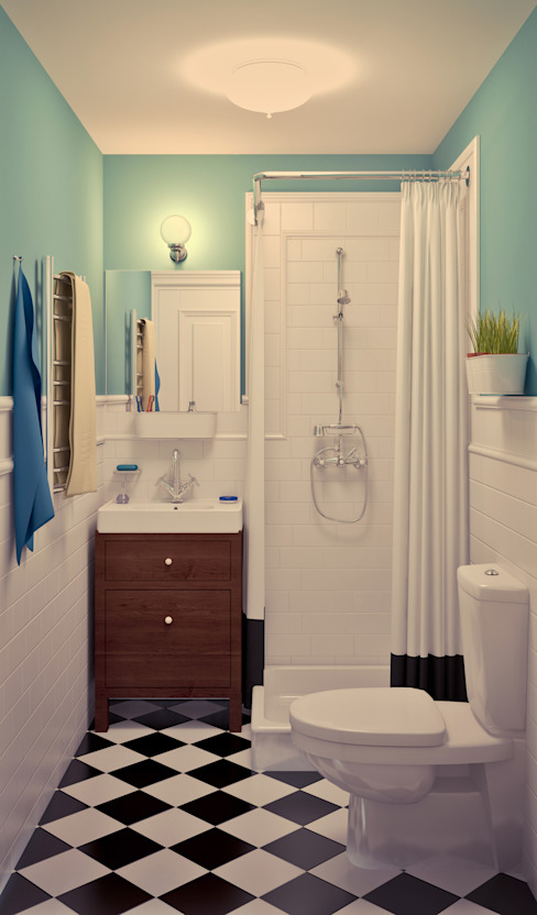 Tatyana Pichugina Design Scandinavian style bathrooms Turquoise