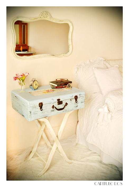 Capítulo Dos ห้องนอนโต๊ะหัวเตียง ไม้จริง White