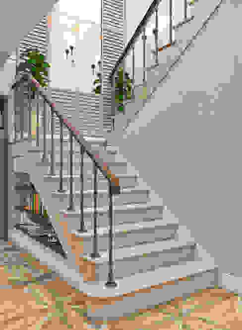 Mediterranean style corridor, hallway and stairs by Студия дизайна Дарьи Одарюк Mediterranean