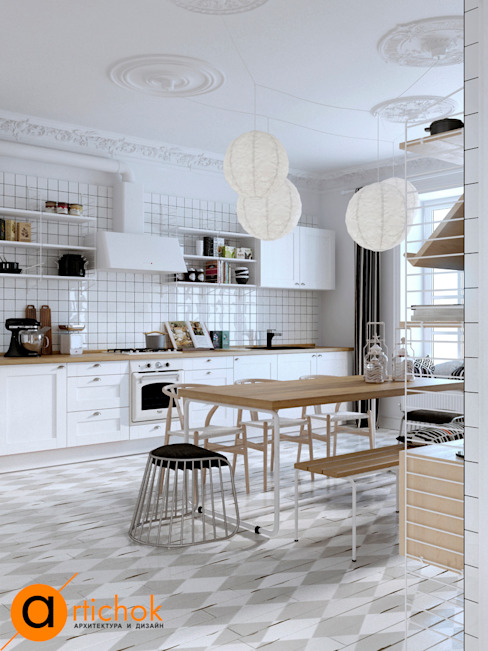 Скандинавское кружево Кухня в скандинавском стиле от Artichok Design Скандинавский