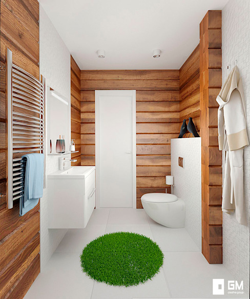 Гостевой домик с гаражом Ванная комната в скандинавском стиле от GM-interior Скандинавский