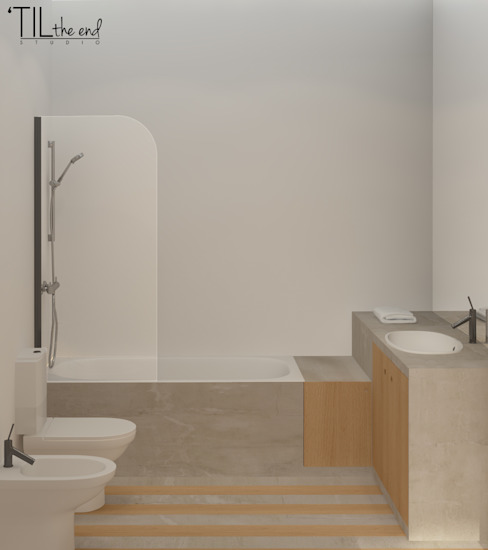 Bagno in stile scandinavo di Lagom studio Scandinavo Cemento