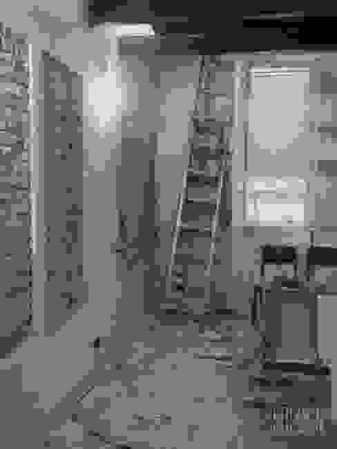 Salon industriel par Estudio BDesign Industriel Briques