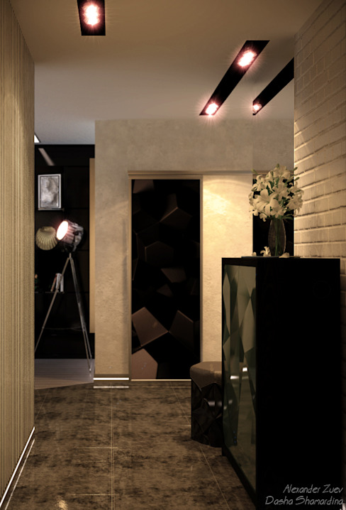 """Дизайн кухни-гостиной и прихожей в современном стиле в ЖК """"Большой"""" Коридор, прихожая и лестница в модерн стиле от Студия интерьерного дизайна happy.design Модерн"""