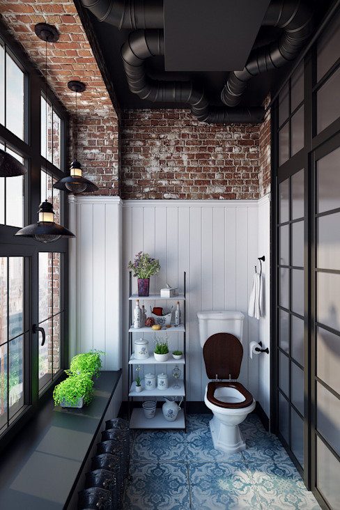 Александра Клямурис Industrial style bathroom