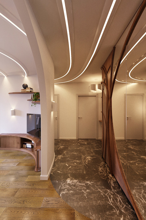 Modern Corridor, Hallway and Staircase by homify Modern Wood Wood effect
