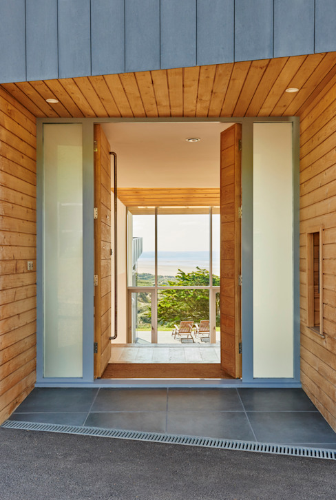 Sandhills Entrance Modern corridor, hallway & stairs by Barc Architects Modern Wood Wood effect