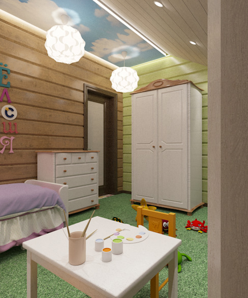 Chambre d'enfant rurale par Студия дизайна Виктории Силаевой Rural Bois Effet bois