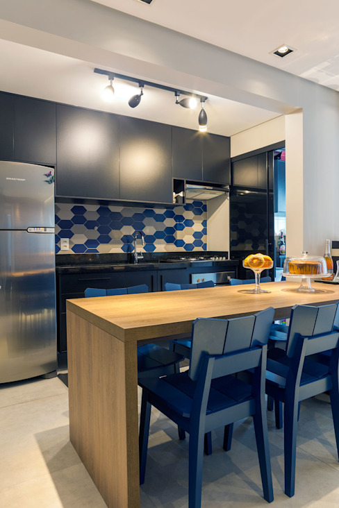Márcio Campos Arquitetura + Interiores Kitchen Blue