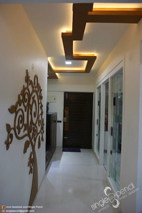 kishore residence Modern corridor, hallway & stairs by single pencil architects & interior designers Modern