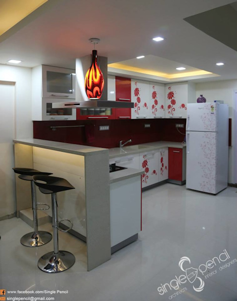 kishore residence Modern kitchen by single pencil architects & interior designers Modern