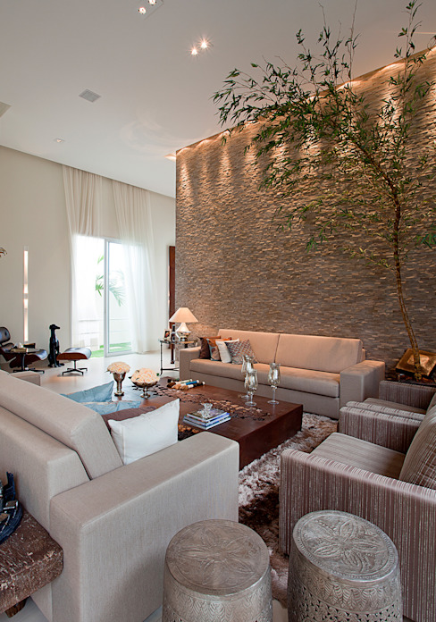 Salas modernas de Maria Helena Caetano _ Arquitetura e Interiores Moderno
