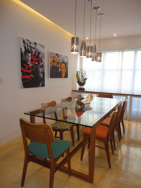APARTAMENTO EM COPACABANA - CORTE DE CANTAGALO: Salas de jantar  por Maria Helena Torres Arquitetura e Design