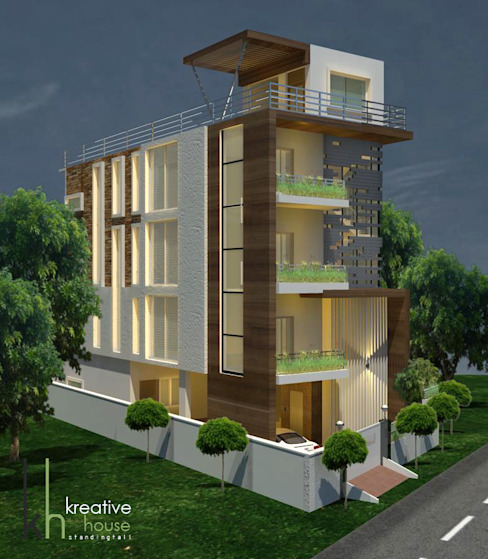A DREAM HOME FOR AN INDIAN FAMILY (North West View) Modern houses by KREATIVE HOUSE Modern Solid Wood Multicolored