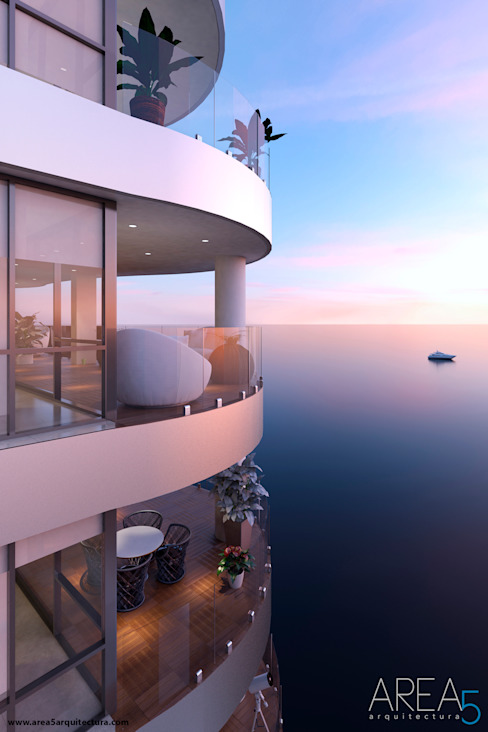 Балкон и терраса в стиле модерн от Area5 arquitectura SAS Модерн