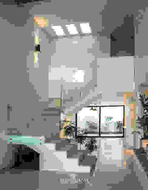 Escaleras y área de comedor Pasillos, vestíbulos y escaleras modernos de Alfagrama estudio Moderno Concreto