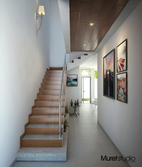 Modern Corridor, Hallway and Staircase by Muret Studio Modern