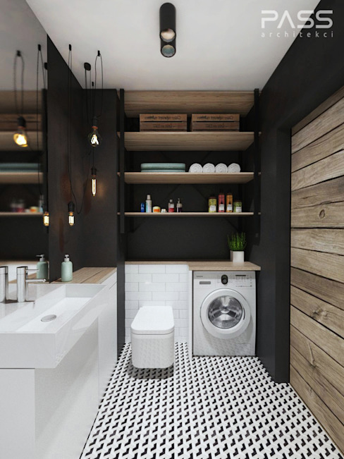 PASS architekci Industrial style bathroom
