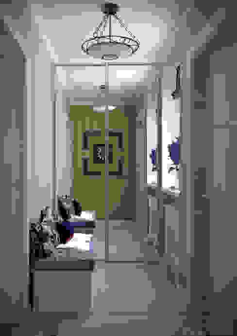 """Дизайн 1-го этажа частного дома в коттеджном поселке """"Бавария"""" Коридор, прихожая и лестница в эклектичном стиле от Студия интерьерного дизайна happy.design Эклектичный"""