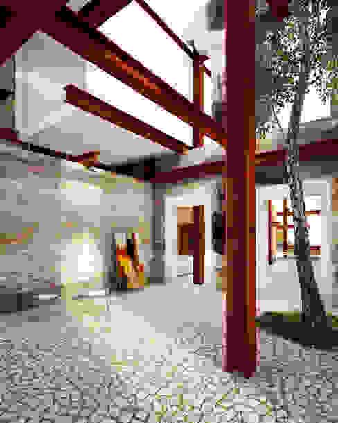 Rustic style corridor, hallway & stairs by mousa / Inspiración Arquitectónica Rustic