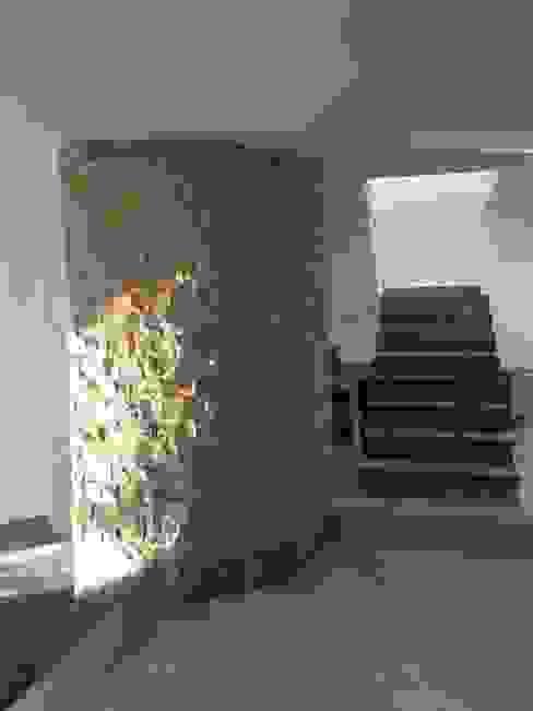 MURO CURVO DE ESCALERA DE SERVICIO EN PROCESO DE REMODELACION Pasillos, vestíbulos y escaleras de estilo moderno de Alejandra Zavala P. Moderno