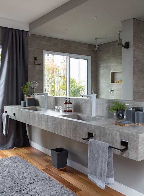 Eliane Mesquita Arquitetura Modern bathroom Concrete Grey