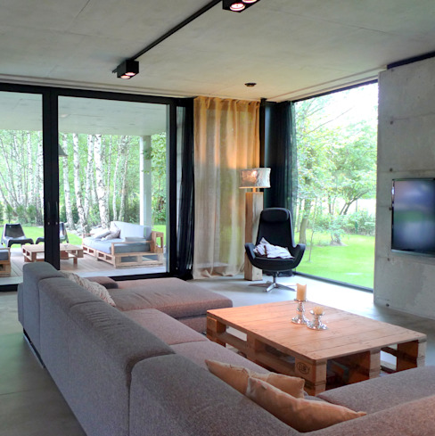 Dom jednorodzinny w Tarnowskich Górach: styl , w kategorii Salon zaprojektowany przez seweryn pracownia,Nowoczesny