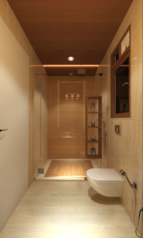 DR. BHAVESHBHAI CHUAHAN RESIDENCE:  Bathroom by INCEPT DESIGN SERVICES