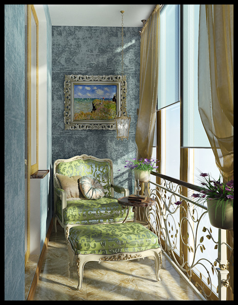 Балкон в спальне. Вид 1 Терраса в средиземноморском стиле от homify Средиземноморский