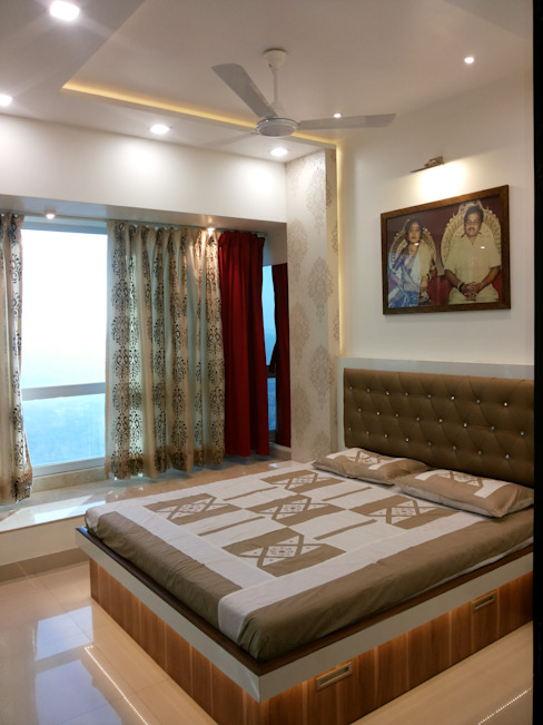 DB WOODS , GOREGAON J SQUARE - Architectural Studio BedroomBeds & headboards
