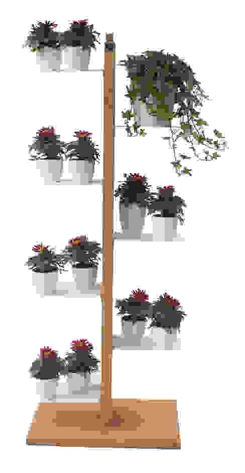 Zia Flora | portapiante a colonna | faggio naturale | h 105 cm di Le zie di Milano Minimalista Legno massello Variopinto
