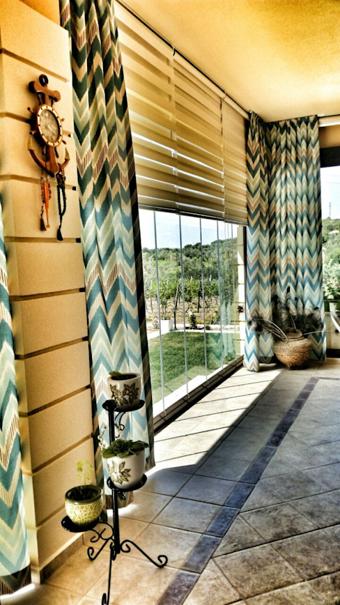 ege perde Country style balcony, veranda & terrace