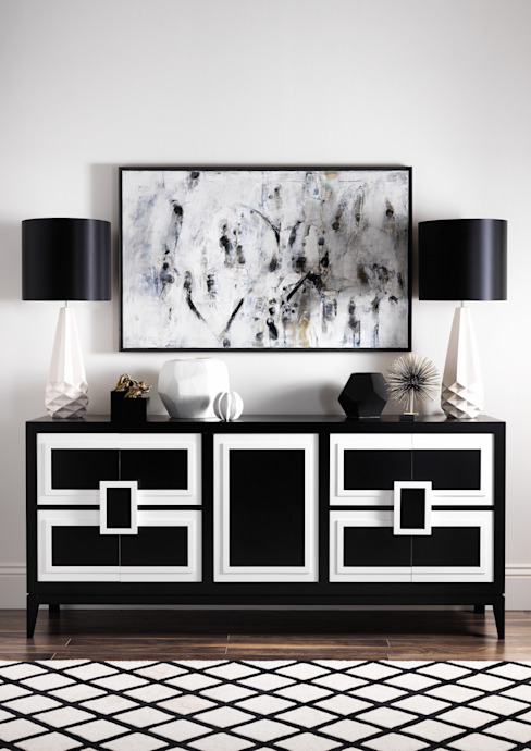 SS16 Style Guide - Refined Monochrome Collection - Hallway LuxDeco غرفة المعيشةخزانات و أدراج جانبية Black