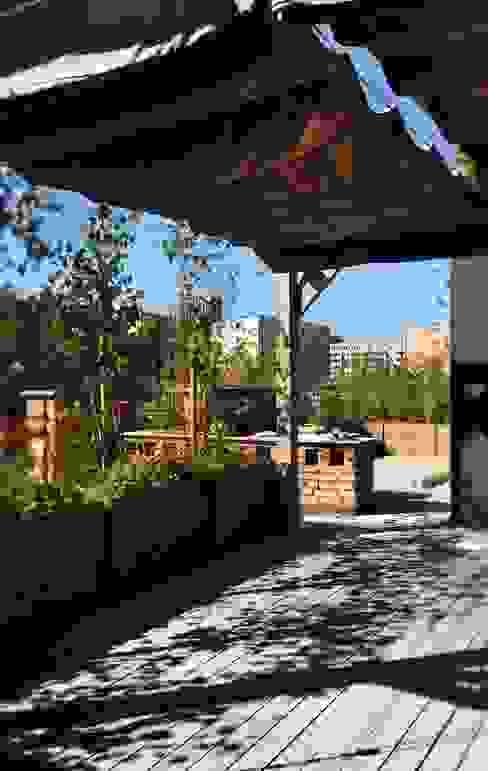 Endüstriyel Balkon, Veranda & Teras Fabryka-ogrodów s.c. Endüstriyel Ahşap Ahşap rengi