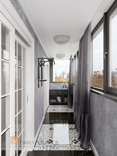 Квартира в стиле современной классики, ЖК «Дом с курантами», 86 кв.м. Балкон и терраса в классическом стиле от Студия Павла Полынова Классический