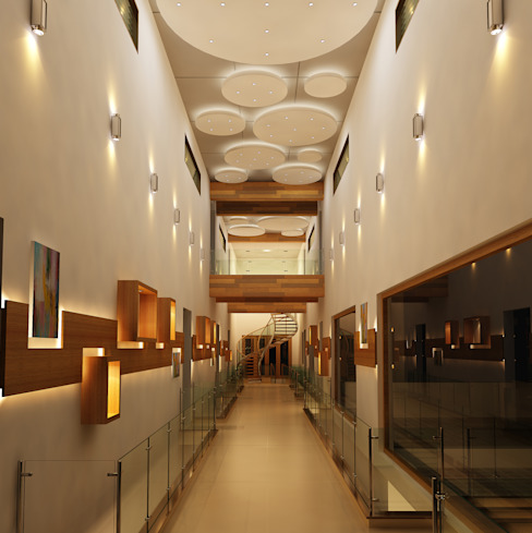 Mr. Ramesh Residence at Neyveli Modern corridor, hallway & stairs by Dwellion Modern