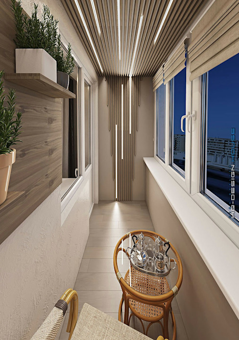 hq-design Modern balcony, veranda & terrace