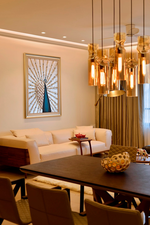 homify Living room MDF Amber/Gold