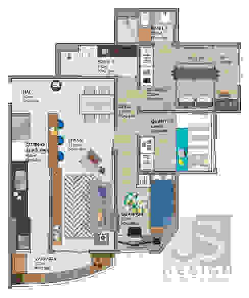 Estudo Apartamento Jacarepaguá por JS Interiores Moderno