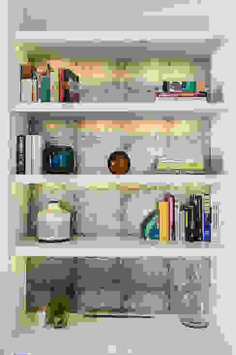 Floating Bookshelves Lauren Gilberthorpe Interiors Living room Multicolored
