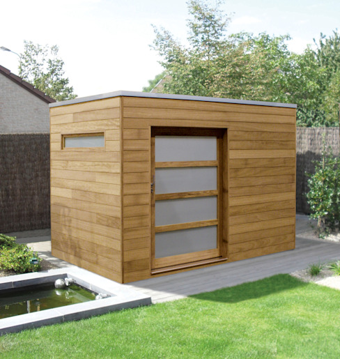 Iroko Box Modern Garage and Shed by Garden Affairs Ltd Modern Wood Wood effect
