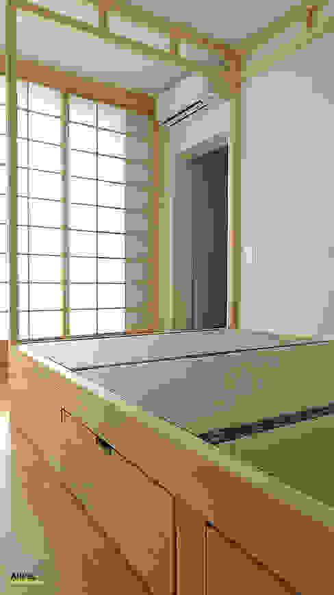 Letto a baldacchino con Tatami e cassetti Arpel Camera da letto in stile asiatico Legno massello