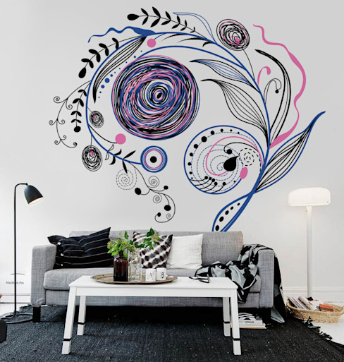 Floral Abstract Modern living room by Pixers Modern