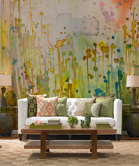 Watercolor Spots Colonial style living room by Pixers Colonial