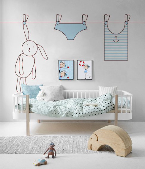 Rabbit and the laundry Pixers Kamar Bayi/Anak Gaya Skandinavia