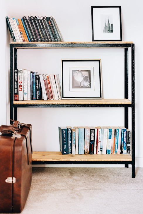 Industrial bookcase Katie Malik Interiors Industrial style corridor, hallway and stairs