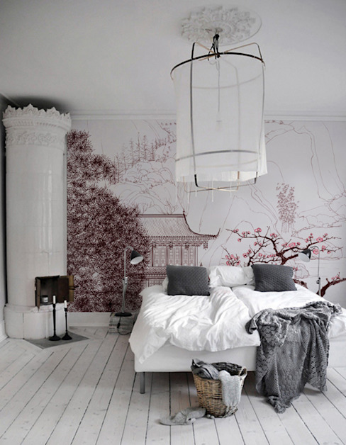 Cherry blossom Asian style bedroom by Pixers Asian