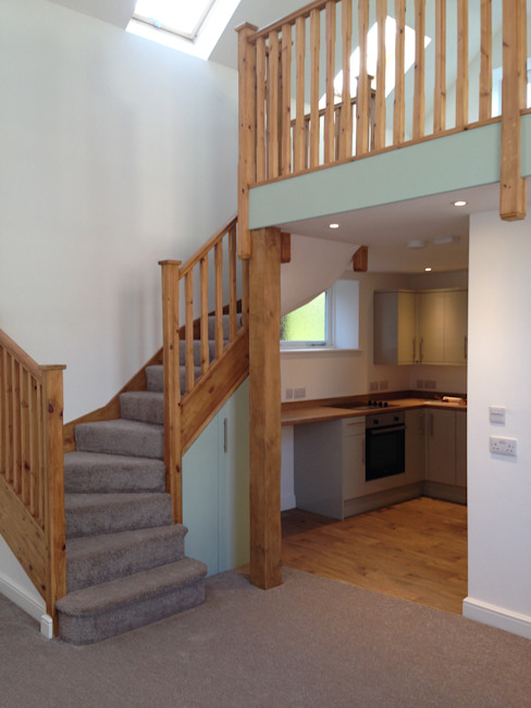 Staircase to mezzanine sleeping platform in starter home chapel conversion by JMAD Architecture (previously known as Jenny McIntee Architectural Design)