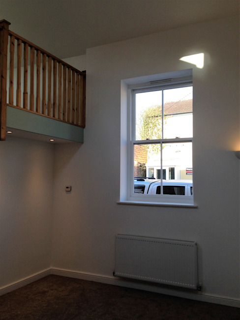 Chapel Conversion to stater home double height living space with sash window by JMAD Architecture (previously known as Jenny McIntee Architectural Design)