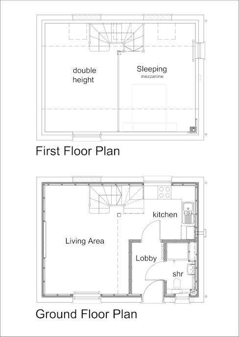 Floor Plans - Conversion of small chapel into quirky starter home de JMAD Architecture (previously known as Jenny McIntee Architectural Design)